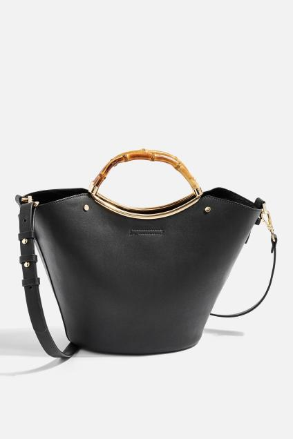 topshop-Black-Tyler-Bamboo-Handle-Tote-Bag