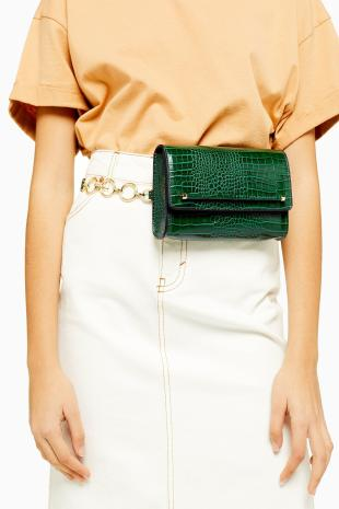 topshop-Green-Blaircrocodile-Belt-Bag